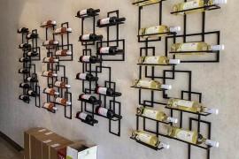 挂壁式简约不锈钢葡萄酒架|酒杯架