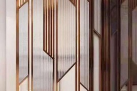 现代轻奢不锈钢屏风,玻璃屏风隔断