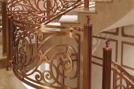 重庆别墅红古铜铝雕楼梯护栏安装图片分享