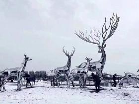 不规则不锈钢造型雕塑_小鹿造型雕塑