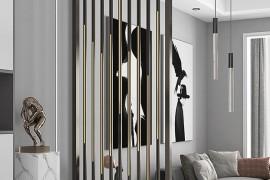最近流行的客厅现代简约不锈钢屏风隔断