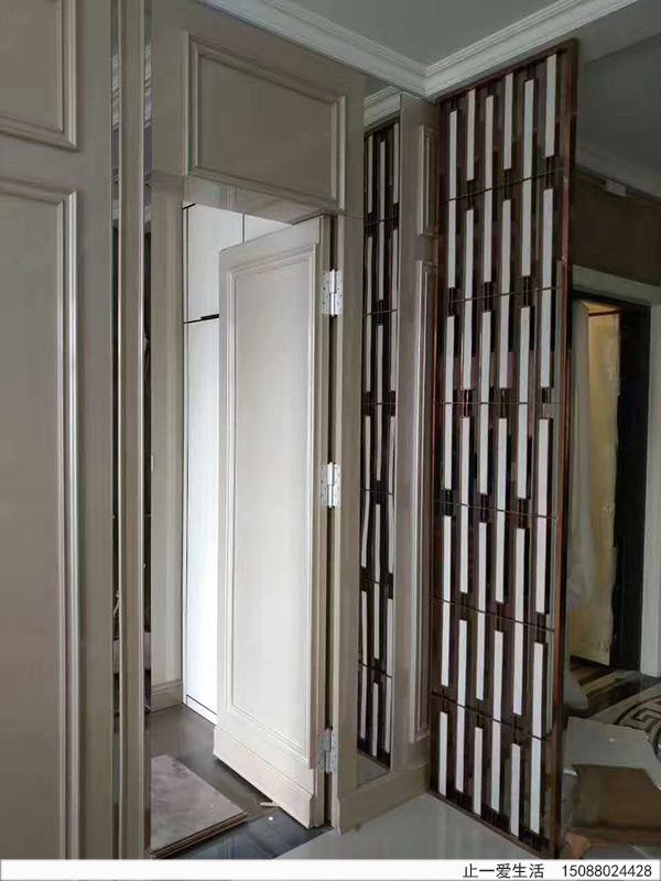 现代简约不锈钢-云石屏风家居玄关装饰效果图