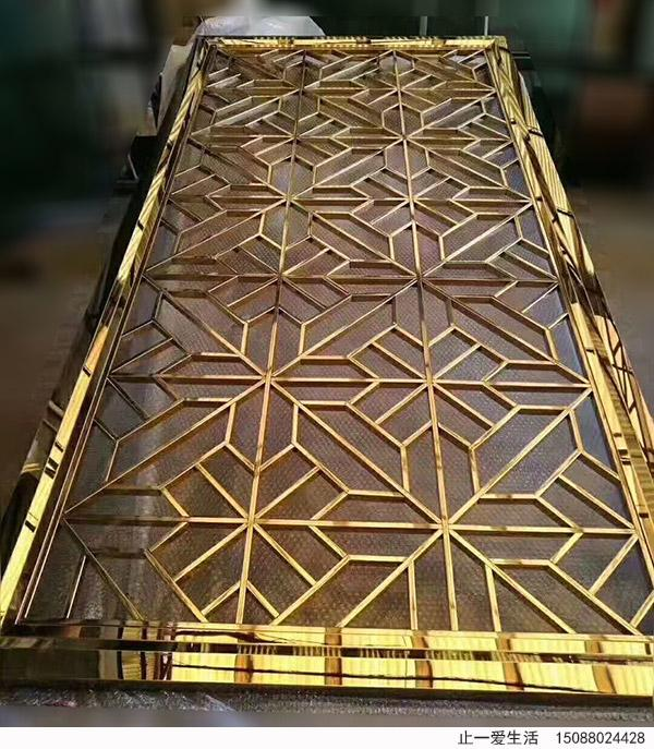 米字格造型镜面金色不锈钢屏风点焊工艺效果图