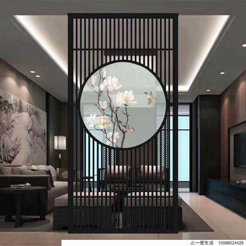 家庭电视客厅不锈钢艺术屏风带彩绘艺术玻璃