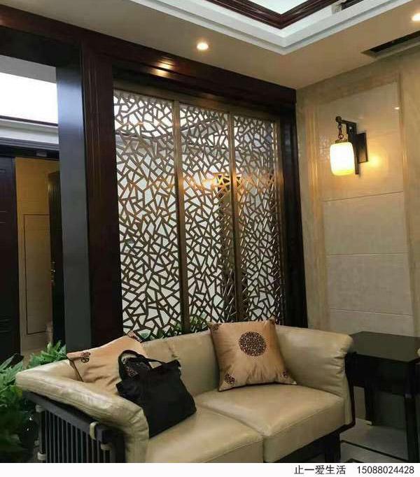 冰裂纹造型沙发背景墙不锈钢花格屏风,现代中式艺术花格屏风