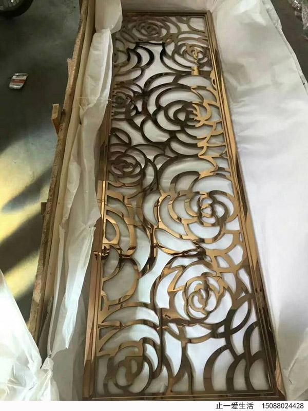 玫瑰花艺术造型镜面不锈钢屏风