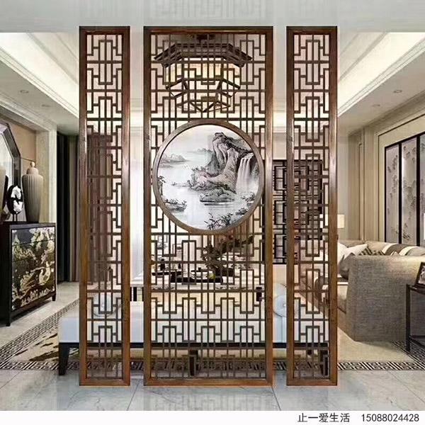 新古典中式不锈钢花格屏风隔断墙,结合彩色艺术玻璃装饰,古韵而又优雅