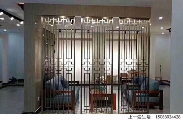 现代中式不锈钢花格客厅隔断屏风