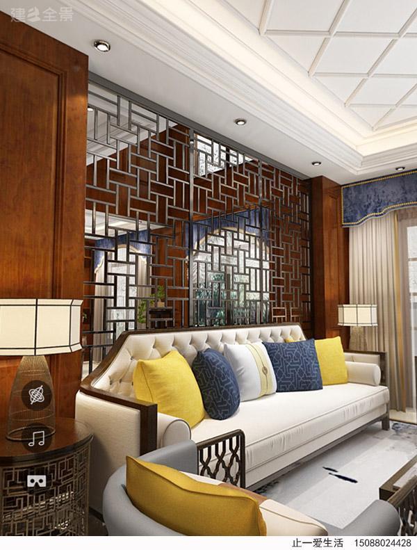 现代中式不锈钢花格沙发背景墙效果图