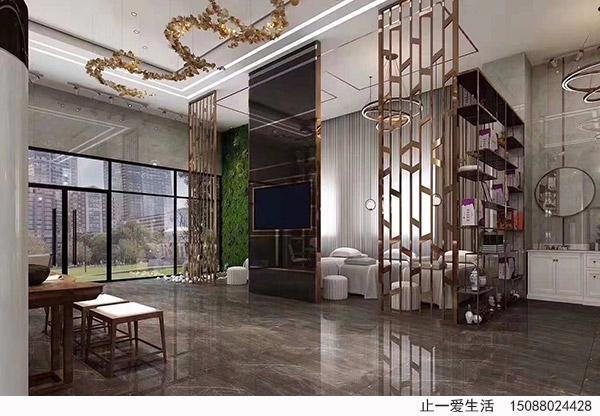家居新中式电视客厅不锈钢屏风效果图