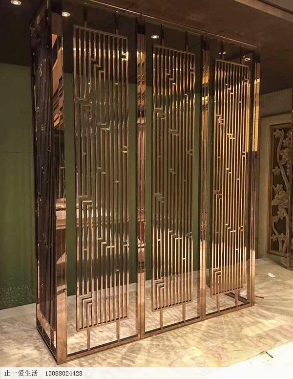 酒店餐厅现代轻奢镜面玫瑰金不锈钢屏风,高端8K镜面定制