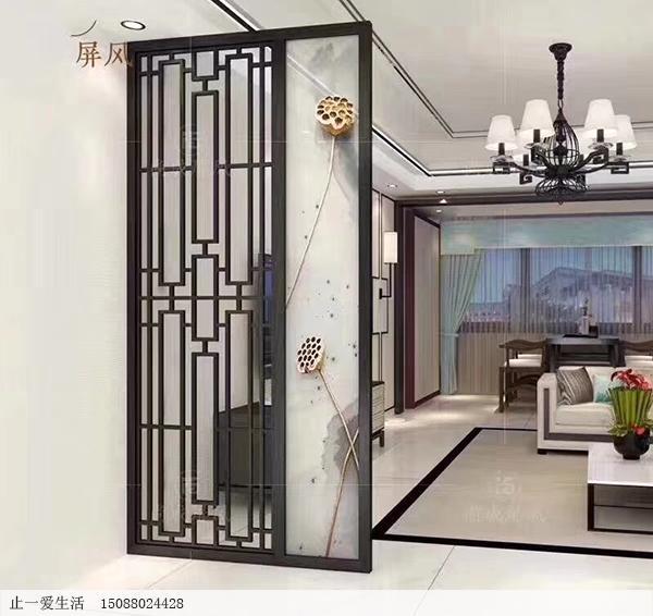 现代中式家居客厅拉丝黑钛不锈钢屏风