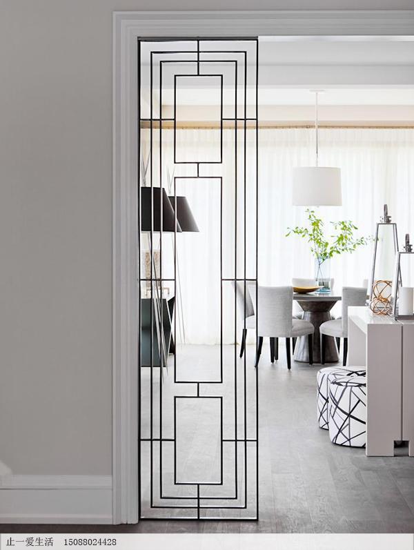 现代轻奢中式客厅不锈钢屏风隔断