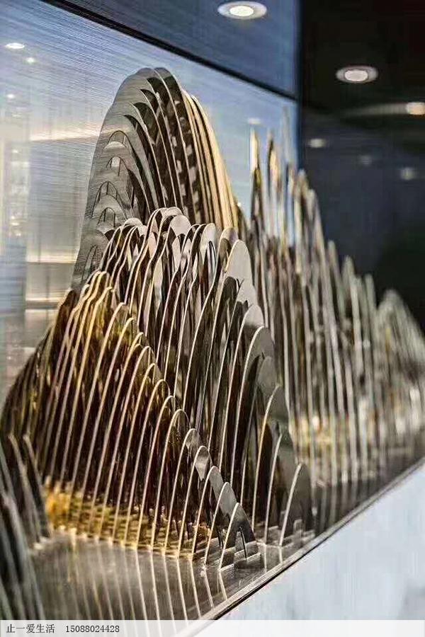 酒店室内不锈钢假山,镜面香槟金不锈钢雕塑艺术造型