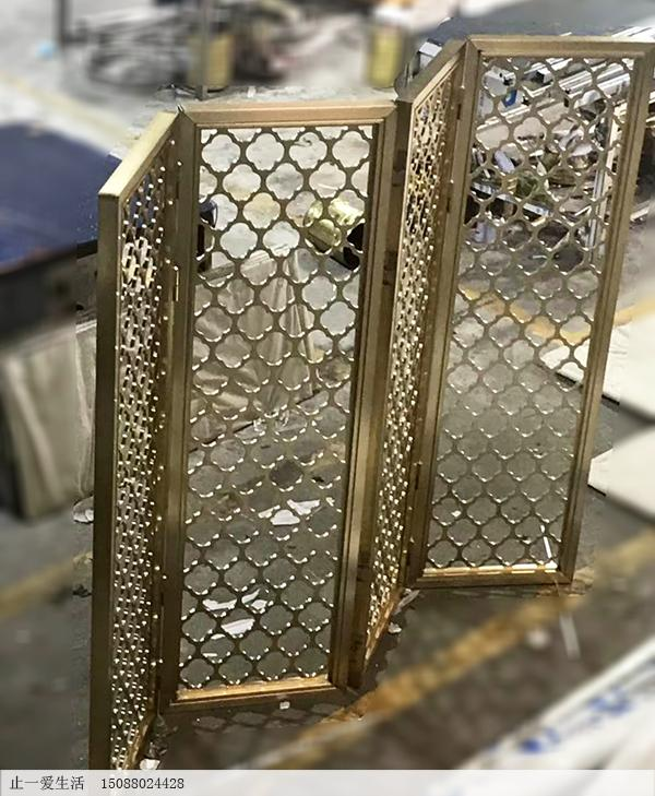 拉丝黄铜不锈钢半高屏风,不锈钢板镂空折屏
