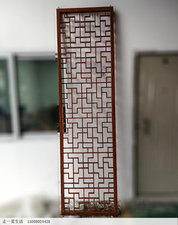 中式仿木纹不锈钢屏风隔断实物效果图