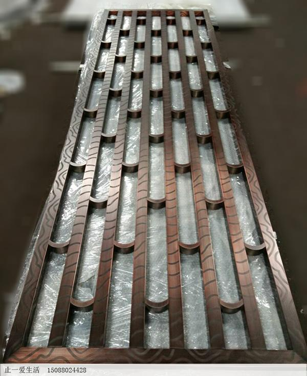 古铜色美式不锈钢屏风成品图片2