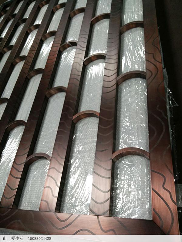 古铜色美式不锈钢屏风成品图片3