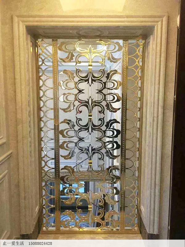 别墅欧式镜面K金不锈钢屏风安装效果图