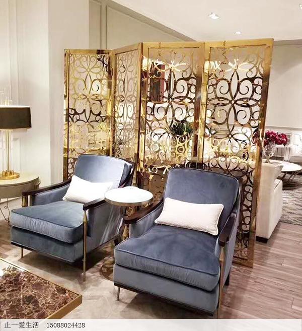 镜面金色沙发背景墙欧式不锈钢屏风,四页折叠屏风