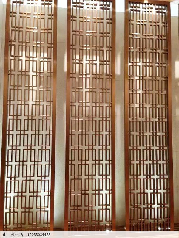 拉丝玫瑰金西字花格不锈钢屏风墙壁装饰效果图