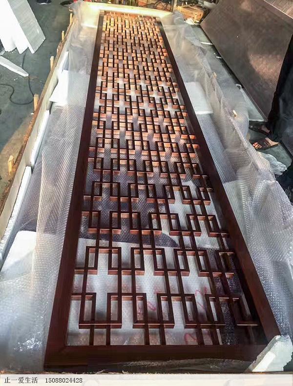 拉丝古铜西字花格不锈钢屏风生产厂家