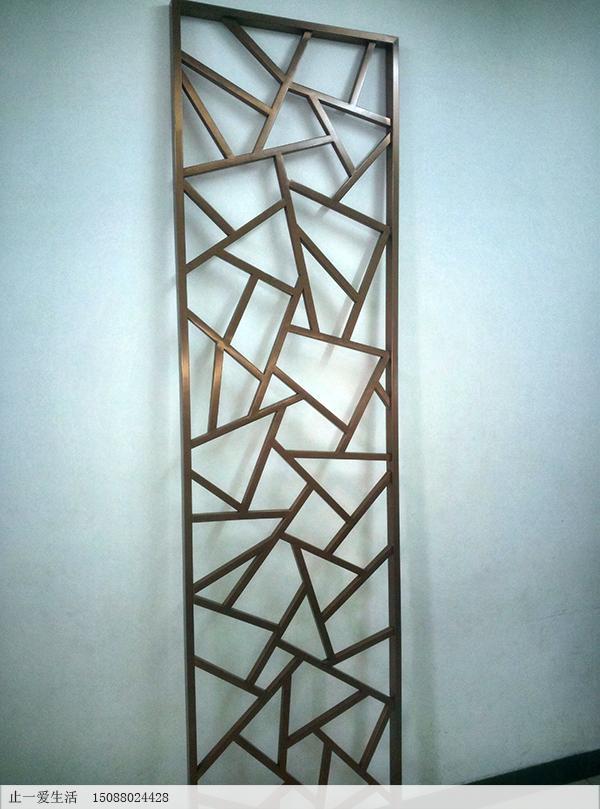 不锈钢管加工的冰裂纹花格屏风立面图