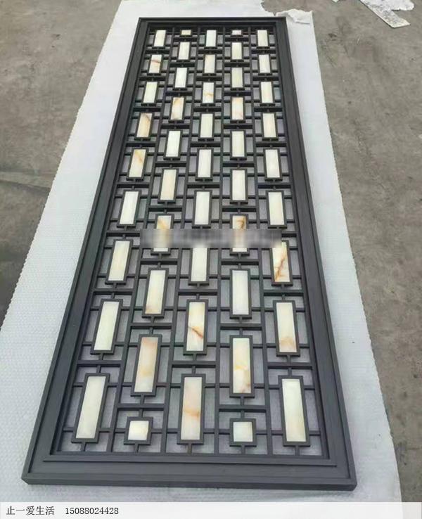 拉丝黑钛镶嵌大理石屏风隔断成品图