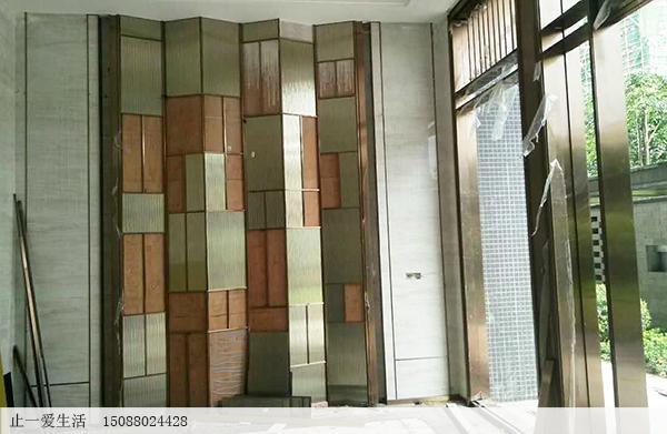 售楼处韩式背景墙不锈钢玻璃屏风安装工程