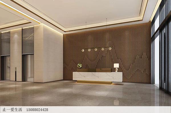 酒店大厅前台的山峦造型背景墙不锈钢镂空屏风设计效果图