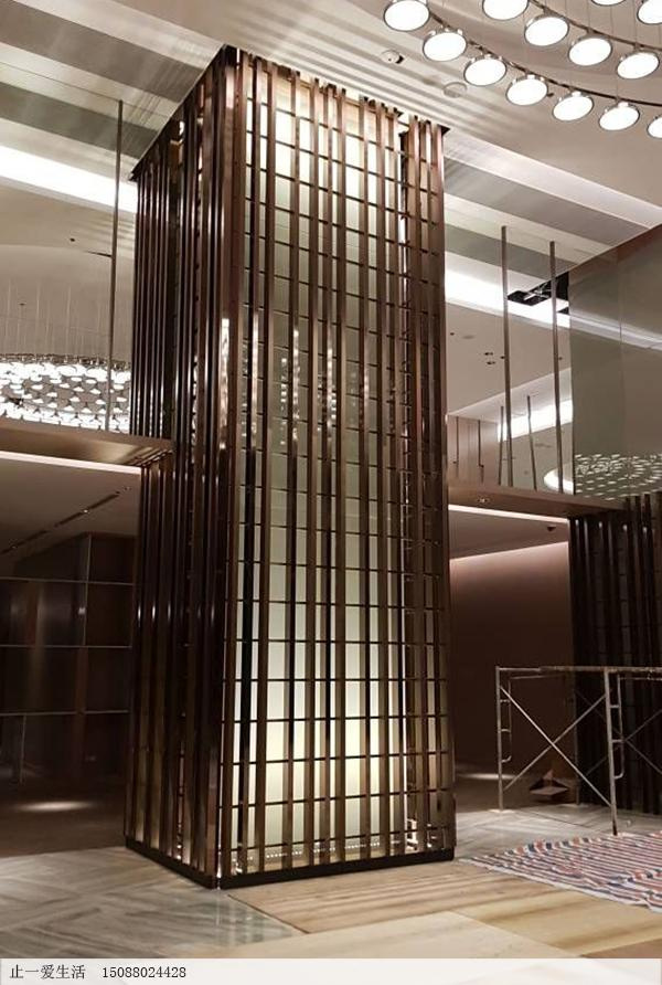 镂空不锈钢条装饰柱子效果