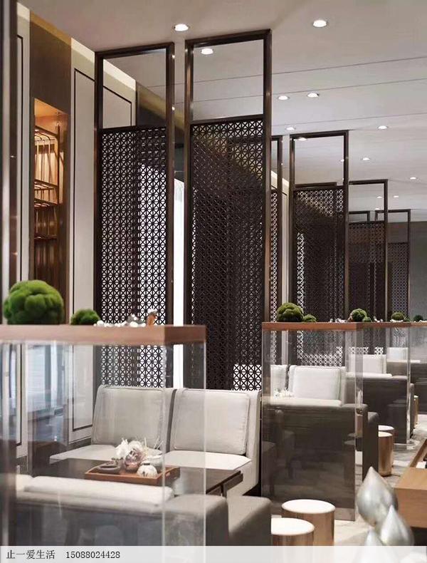 餐厅使用不锈钢镂空花格屏风隔断