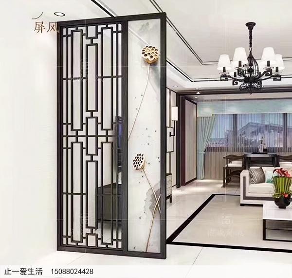 客厅艺术玻璃花格屏风隔断效果图