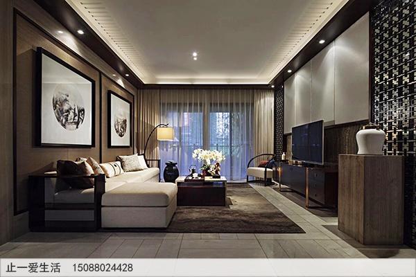 横厅方格形不锈钢花格电视墙效果图
