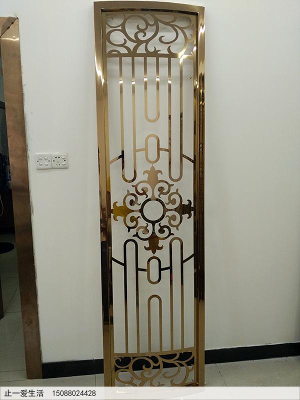 不锈钢板激光镂空的镜面玫瑰金屏风,弧形的玫瑰金屏风立面图2