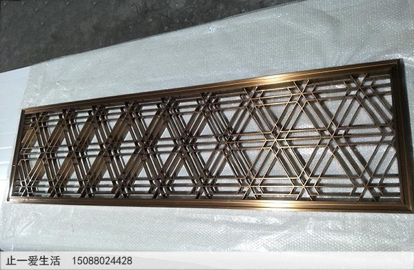 边框50*50,内花5*30的拉丝满焊玫瑰金不锈钢屏风