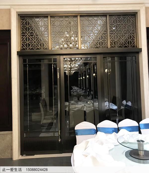 酒店门头花米字花格青古铜不锈钢屏风