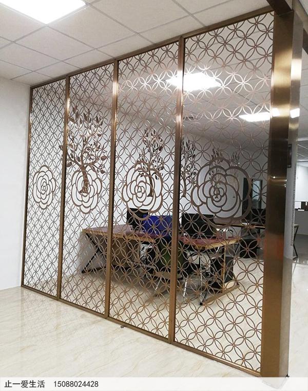 写字楼办公室金钱花不锈钢镂空屏风装饰实拍图