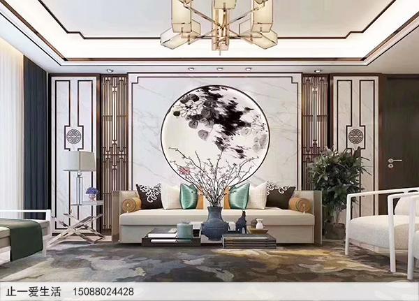 现代风格中式沙发背景墙不锈钢屏风