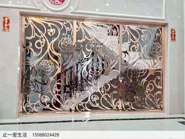 镜面玫瑰金欧式不锈钢屏风图片