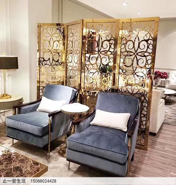沙发背景墙隔断墙欧式不锈钢屏风效果图