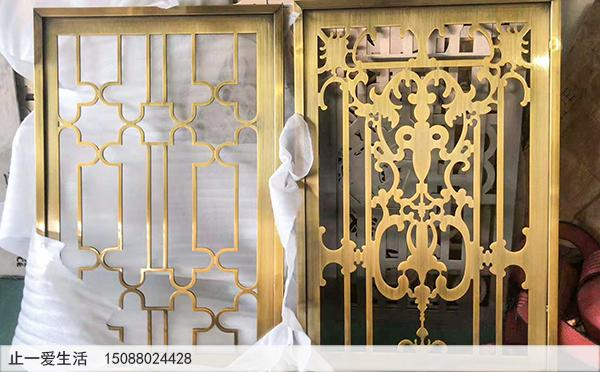 水镀黄古铜拉丝欧式不锈钢屏风成品图