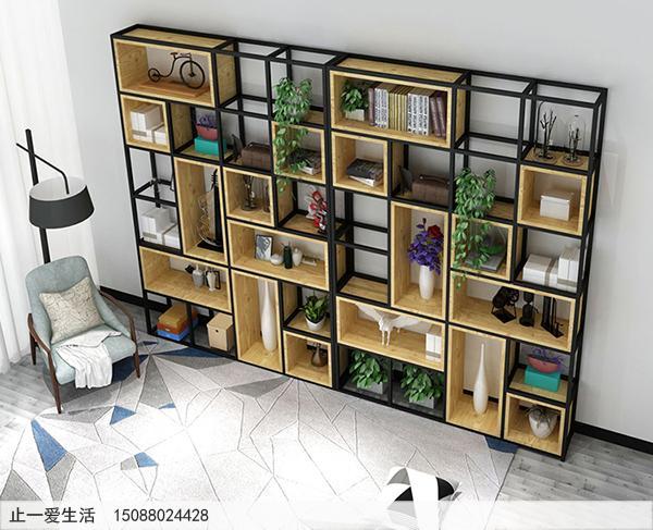 不锈钢做的隔断屏风架子-简约风格客厅墙壁摆放隔断屏风效果图2