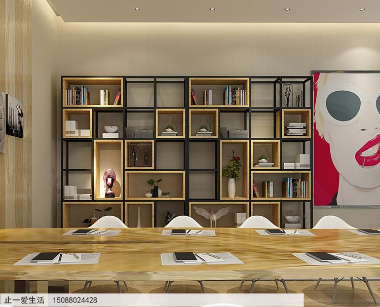 不锈钢做的隔断屏风架子-办公会议室靠墙角落摆放正面效果图