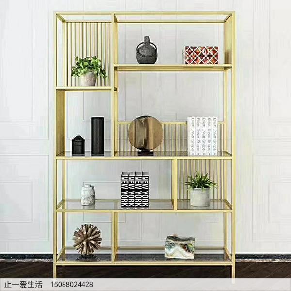 现代简约风格钛金不锈钢装饰柜