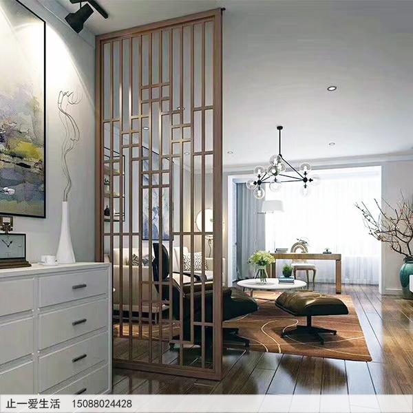 客厅沙边中式中式玫瑰金花格不锈钢屏风安装效果图