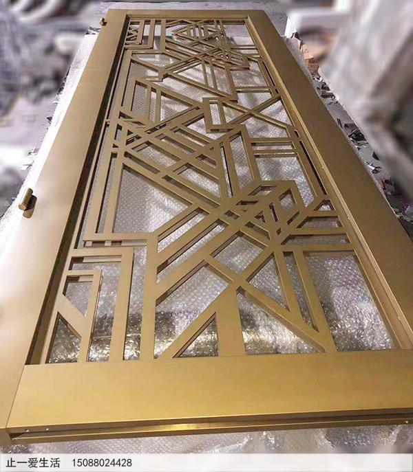 钛金喷砂工艺表面效果不锈钢屏风门成品效果