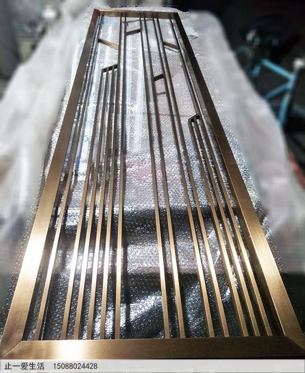 拉丝玫瑰金点焊不锈钢屏风成品效果图