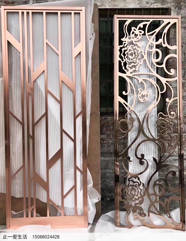 现代风格水镀红古铜不锈钢屏风成品效果图