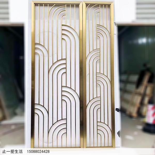 拉丝钛金现代简单的不锈钢屏风